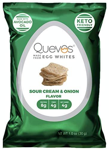 Quevos Keto Sour Cream & Onion - Low Carb Egg White Chips - High Protein, Ketogenic, High Fiber, Crunchy Snack...