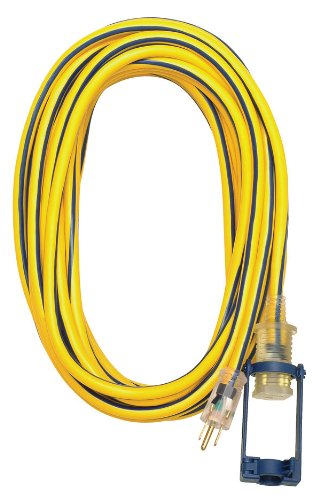 Voltec 12/3 SJTW Outdoor Extension Cord with E-Zee Lock and Lighted End, 50-Foot