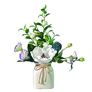 NYKK Decoration Simple Style Simulation Camellia with Vase, Artificial Flower Bonsai for Living Room Office and Bedroom, Elegant and Generous Table Centrepieces