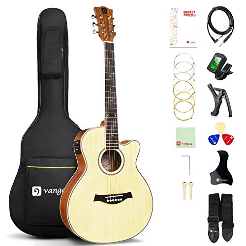 Acoustic Electric Guitar Bundle, 36 Inch 3/4 Size Acoustic-electric Cutaway Guitar Spruce Top for Beginners Adults Teens, by Vangoa