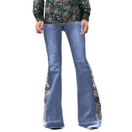 Runstarshow Jeans Patte Eléphant Femme Pantalon Bootcut Broderie Denim Pant Evasé Fleur Grande Taille Jambe Large Fermeture Eclair Bouton Elégant Vintage