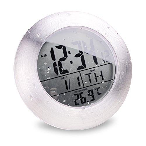 Itian Wanduhr, Wetter alender Thermometer Anzeige Wecker, Wasserdichte Uhr für das Bad