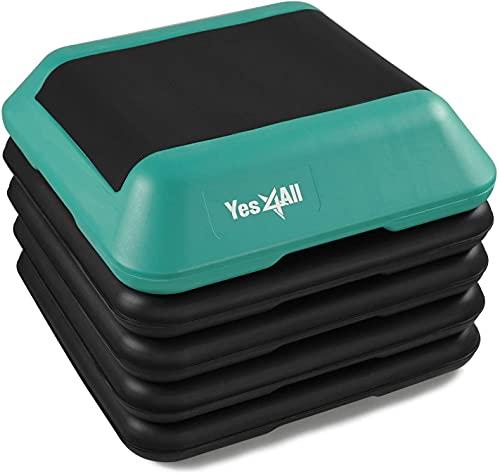 "Yes4All Adjustable High Step Aerobic Platform, 16"" x 16"" Black/Green Step Platforms for Aerobic Step Exercises"