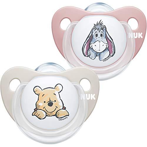 NUK Trendline Schnuller | 0-6Monate | BPA-freier Schnuller aus Silikon | Disney Winnie Puuh | Rosa (Mädchen) | 2Stück