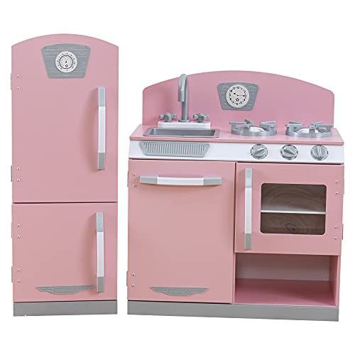KidKraft Retro Wooden Play Kitchen and Refrigerator 2-Piece Set with Faucet, Sink, Burners and Working Knobs, Pink, Gift for Ages 3+