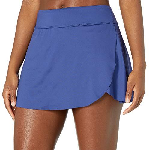 24th & Ocean Women's Standard Petal Skort Bikini Swimsuit Bottom, Navy//Solid, M