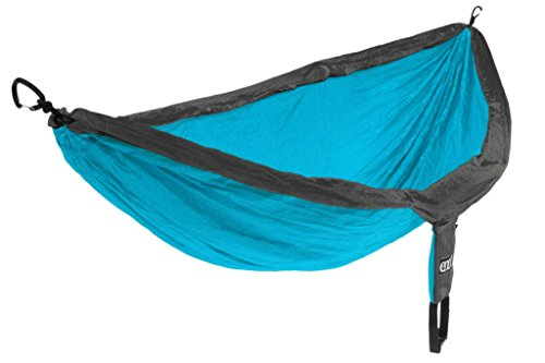 ENO Doublenest Hammock Teal Charcoal Soft Breathable Fabric 70 Denier High Tenacity Nylon Taffeta Fast Dry Heavy Duty Triple Stitched Seams Compression Stuffsack Aluminium Wiregate Carabiners W 539 g