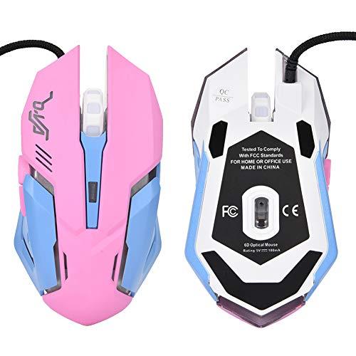 Yoidesu USB-Gaming-Maus Rosa Gaming-Maus Kabelgebundene Maus LED Optische Maus 3200DPI Büromaus 6 Tasten mit Scrollrad, Farbe Atmendes Licht Mäuse für Windows XP/Vista/7/8/ME/2000/Mac OS