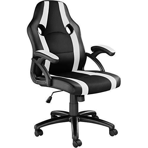 TecTake 800781 Racing Bürostuhl, Chefsessel mit Wippmechanik, Kunstleder Gaming Stuhl, höhenverstellbarer Schreibtischstuhl, ergonomischer Drehstuhl - Diverse Farben - (Schwarz-Weiß   Nr. 403475)