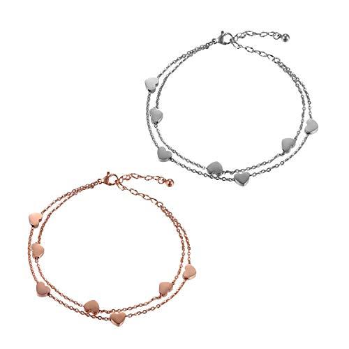Flongo Tobillera de pulsera de la amistad, pulsera de la amistad para 2 pulseras de acero inoxidable, cadena para el tobillo, corazón, símbolo de infinito, oro rosa, plata, elegante, para mujer y niña
