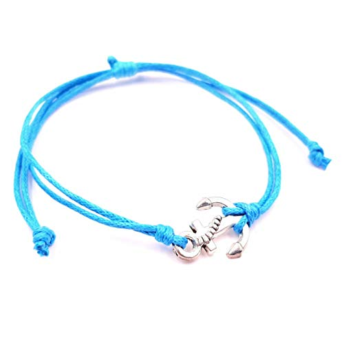 MADE IN ZEN - Pulsera de ancla marina brasileña para mujer, hombre, niño, joya de algodón, azul turquesa