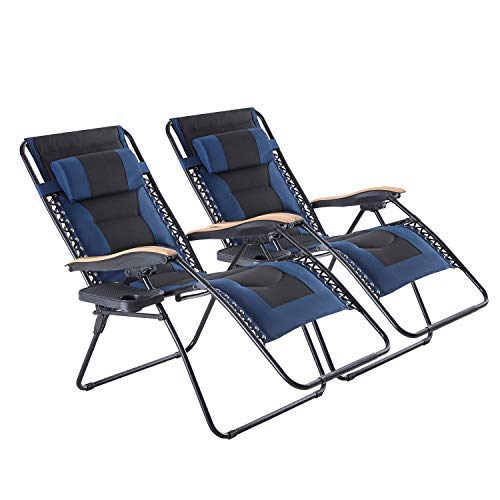 Oversized zero gravity chair 2 pack, XL padded Folding PAtio Living room with cup holder and headrest for lawn...