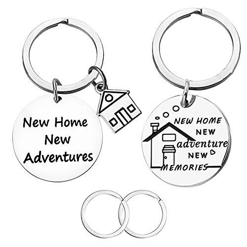 CNYMANY Lot de 2 porte-clés pour nouvelle maison, nouvelle maison, nouvelle aventure, pendaison de crémaillère, décoration de maison pour nouveau propriétaire, épouse, mari, amoureux