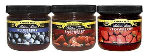 Walden Farms Calorie Free Fat Free Gluten Free Sugar Free Fruit Spreads (Raspberry-Blueberry-Strawberry,(1 Jar EACH)