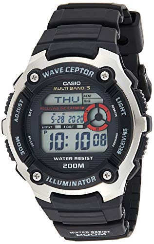 Casio WAVE CEPTOR Orologio con Ricezione Segnale Radio, Nero, Digitale, Uomo con Cinturino in Resina, WV-200E-1AVEF