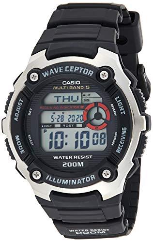 Casio WAVE CEPTOR Reloj Radiocontrolado, Negro, para Hombre, con Correa de Resina, WV-200E-1AVEF