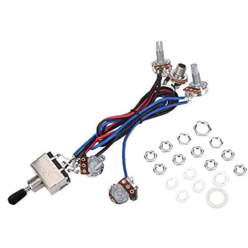 Liadance Interruptor De 3 Vías con Cable De La Guitarra Eléctrica del Haz De Cables De Reemplazo De 2 Tonos 2 Volumen Perillas De Control