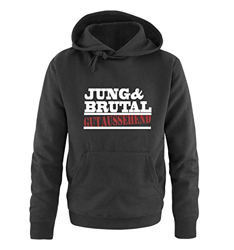 Comedy Shirts - Jung & brutal gutaussehend - Herren Hoodie - Schwarz / Weiss-Rot Gr. 5XL