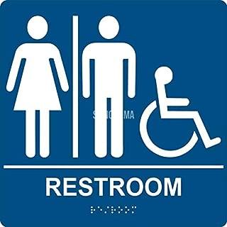 Unisex Accessibility Restroom Sign Blue/White - ADA Compliant - Grade II Braille