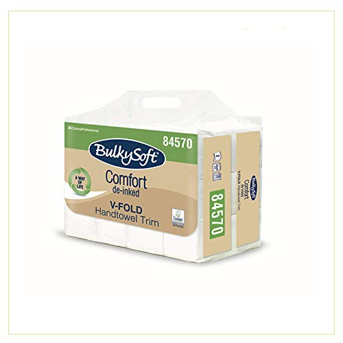 Asciugamani di Carta Monouso piegati a V 3000 pezzi in pura cellulosa di carta bianca 21cm x 21cm per dispenser