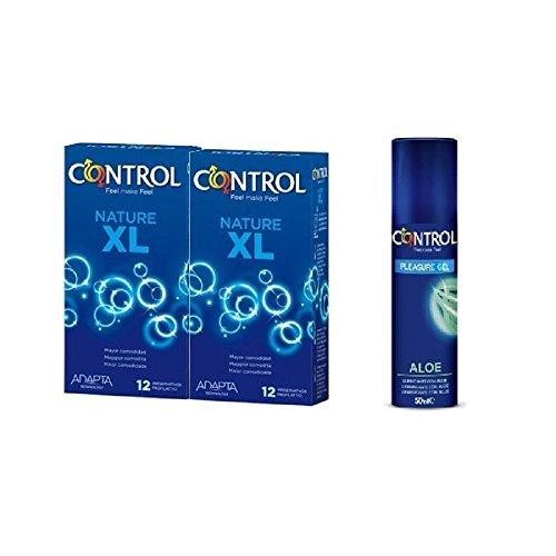 Control PACK PRESERVATIVOS/CONDONES XL 2 + GRATIS LUBRICANTE ALOE 2 cajas de preservativos XL / 12 unidades 1 Lubricante base de agua con ALOE VERA 50 ml