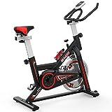 SHUOQI Bicicleta estáticas para Fitness, Bici de Spinning, Calidad Profesional, Rueda de inercia bidireccional,Transmisión por Cadena Fija,Asiento Ajustable, Pantalla LCD