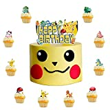 【High-Quality Material 】Our birthday cake topper is made from eco -friendly raw material which meets the international environmental standards.Compared with other plastic and acrylic products,Our Poke-mon Party supplies use high-grade paper, non-tox...