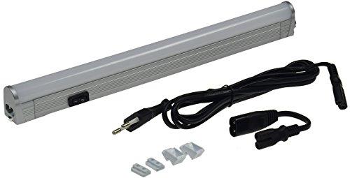 LED Unterbauleuchte Wand- & Deckenleuchte BONITO 230V silber Kabel Zubehör erweiterbar Küche Werkstatt Lagerraum Keller (33cm, warmweiß)