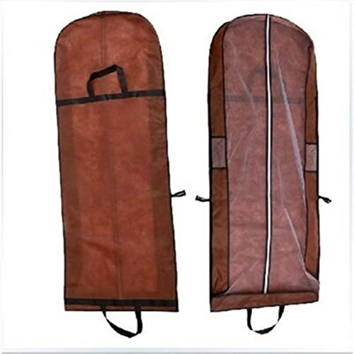 Heavy Large for Wedding Dress Dust Cover Zipper Gown Dustproof Cover Storage Bag Foldable Garment Clothes Case Protector Print Logo Oxford (Color : Brown, Specification : 155cm)