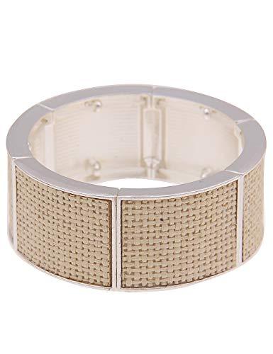 Leslii Damenarmband Armreif Statement Bast-Schmuck Natur Bast-Armband Armschmuck beiges Modeschmuck-Armband Länge 19cm in Silber Beige