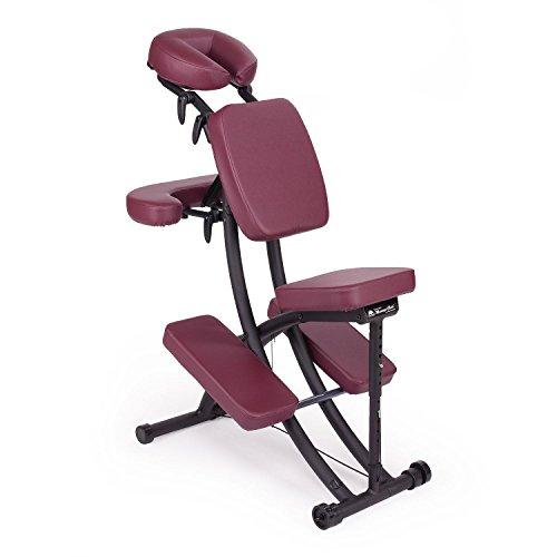 Oakworks Pro Paket, Massagestuhl (ruby-rot), klappbar, mobil, als Komplettpaket mit passender Transporttasche und Papier-Kopfstützbezügen (100 Stk.), vielseitig verstellbarer Therapiestuhl, hochwertige Markenqualität aus den USA