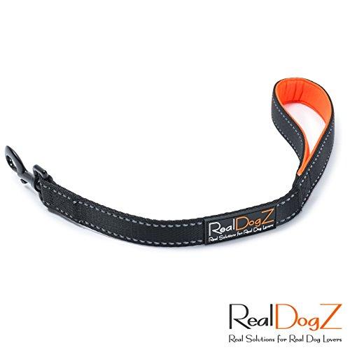 RealDogZ Schwarze 50cm Kurzführer Hundeleine für Mittel-Große Hunde Gepolstert Orange 0,5