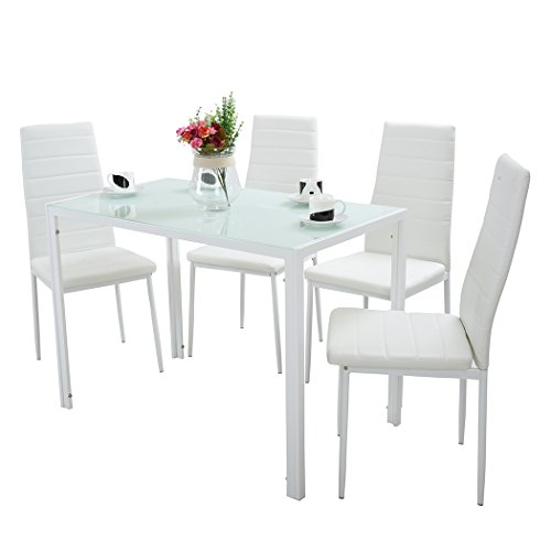 Panana Modern Gorgeous Glass Dinning Table With 4 Faux Leather Chairs Set (White, 120CM)