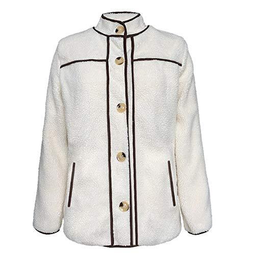 U/A Invierno Mujeres Nuevo Casual Terry Stand Collar Costura Botón Abrigo Manga Larga Blanco blanco S
