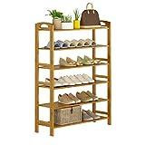ZZYE Zapatero de 6 niveles, estante de almacenamiento vertical, bambú natural, 12 pares de zapatos, 50 x 26 x 108 cm (ancho x profundidad x altura)