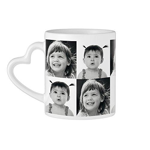 Tassenwerk Kaffeebecher mit Fotodruck und Herzhenkel, Personalisiert mit 2 Fotos, Weiße Tasse mit schwarz-weiß Collage