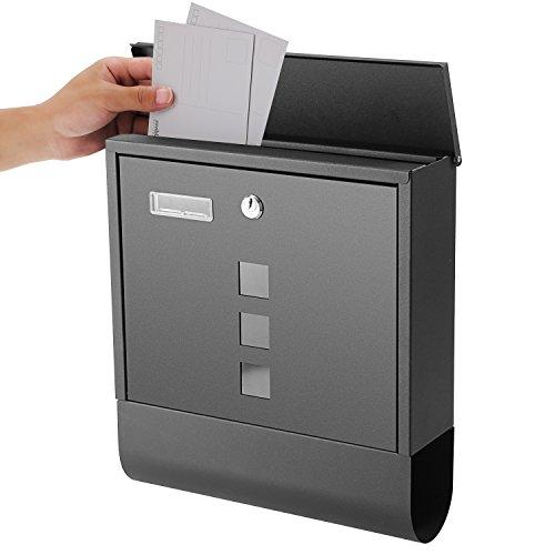 Briefkästen Postkasten, Wandbriefkästen mit Zeitungsfach, 3 Sichtfenstern und 2 Schlüsseln, Edelstahl pulverbeschichtet, Schwarz