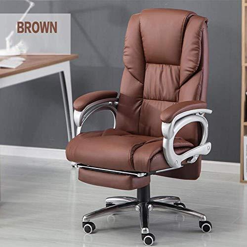 Office Life Executive Liegestühle Büro, Spieltisch Computerstuhl Ledersessel Neigung Nickerchen mit Fußstützenhöhe Höhenverstellbarer Executive Drehstuhl Gepolsterter Bürostuhl (Farbe: Braun)