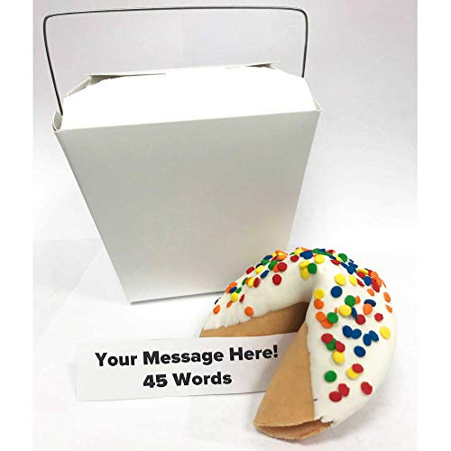Jumbo Custom Fortune Cookie   Personalize Your Message   Hand Dipped in Chocolate   'Happy Confetti'' Sprinkles