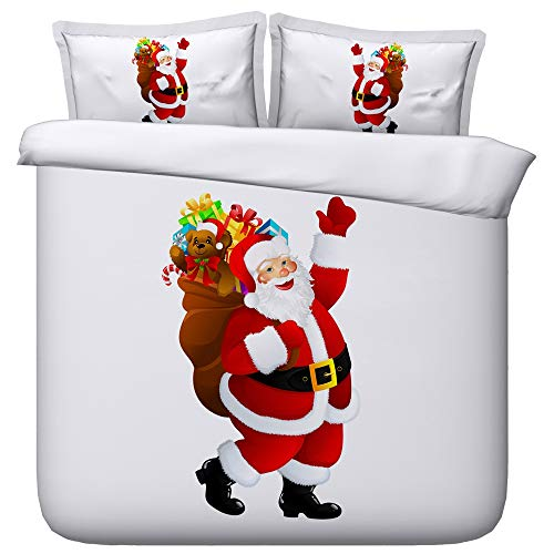 ZXXFR Duvet Cover Set Printed Simple Santa,Bedding Quilt Cover Soft Breathable for Girls Boys 3 Pieces (1 Duvet Cover + 2 Pillow cases)-220x260CM