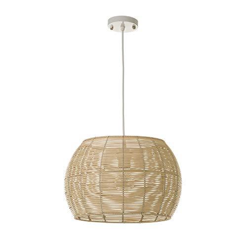 Lámpara de techo rústica colgante trenzada de rattan beige de ø 35 cm - LOLAhome