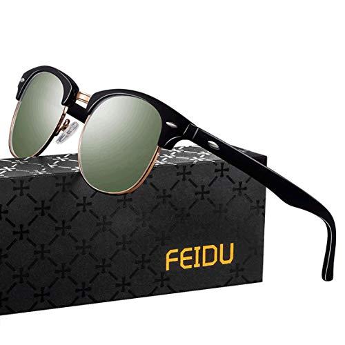FEIDU Halbrahmen Polarisierte Klassische Metall Sonnenbrillen Herren-Retro Polarisierte Sonnenbrille Damen FD 3031 (Grün, 2.04)