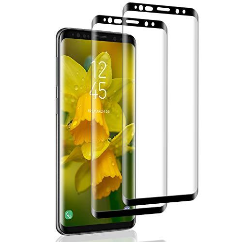 IceboyHHH 2 pièces Verre Trempé pour Samsung Galaxy S9, Haute Qualité 3D Incurvé Couverture Complète, Dureté 9H, Sans Bulles, Film de Protection d'Écran pour Samsung Galaxy S9