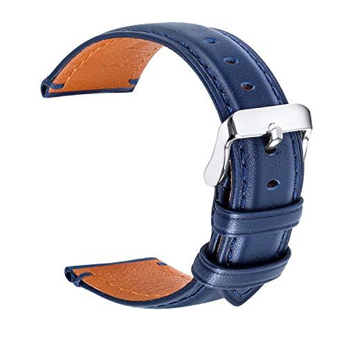 hunteen Uhrenarmband, Lederarmband 20 mm für Frauen oder Männer, Ersatz-Uhrenarmband mit Edelstahl-Metallverschluss für Herren, Damen, traditionelles Sportuhr-Zubehör, Blau