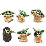 HONGECB Juego de Mini Figuras Baby Yoda, 6 juegos de juguetes Yoda para bebés, Baby Yoda Caricatura ...