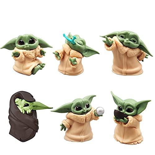 HONGECB Baby Yoda Mini Figure, Modellino d'azione Della Serie Star Wars, Decorazione per Torte, Yoda Statuette per Feste di Compleanno, Feste per Bambini Fan di Figura