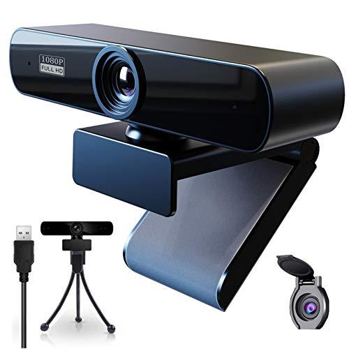 Webcam 1080P con Micrófono para PC,Webcam Full HD Camara Web con Cubierta y Trípode,Webcam USB Vista Gran Angular para Videollamadas,Grabación,Conferencias y Juegos
