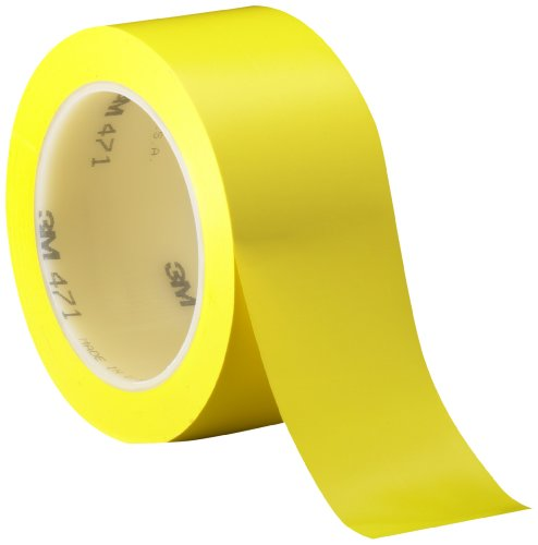 3M Cinta de vinilo 471, 1' x 91,44 m, 5,2 mil, amarillo (Paquete de 36), amarillo, 36