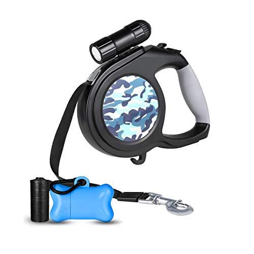Mars Jun hondenriem, intrekbaar, 8 m, uittrekbaar, met LED-verlichting, hondenlijn voor grote middelgrote honden en puppy's (Camouflage Blue)