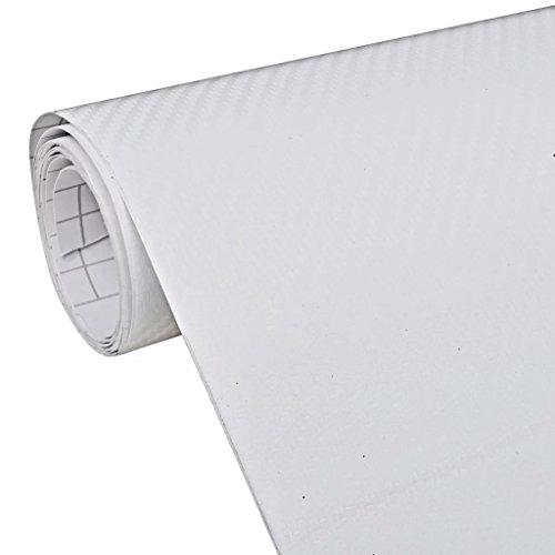 vidaXL Film Fibre de Carbone 3D Vinyl Blanc 152x200 cm pour Voiture Adhésif